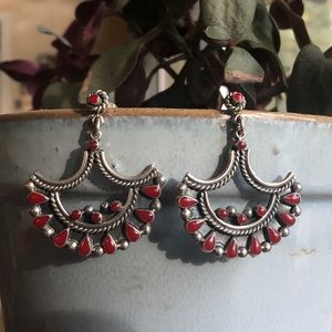Vintage Sterling Silver Red Coral Earrings
